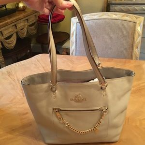 Coach Light Gray Chain Detail Purse Handbag